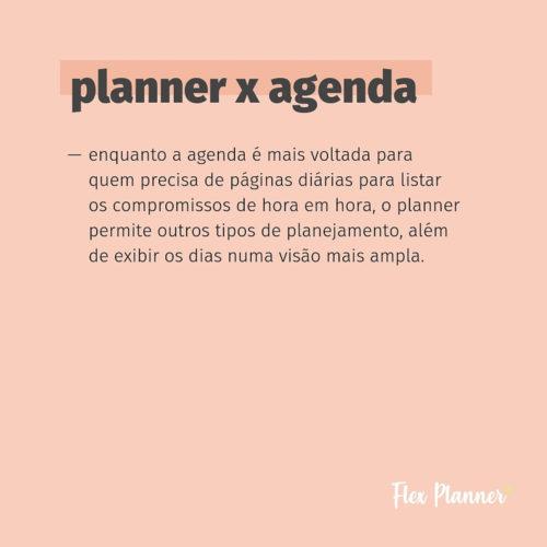 Qual a diferença entre planner e agenda?
