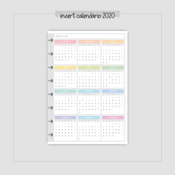 Insert Calendário 2020 cinza