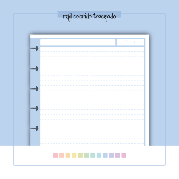 refil de caderno tracejado